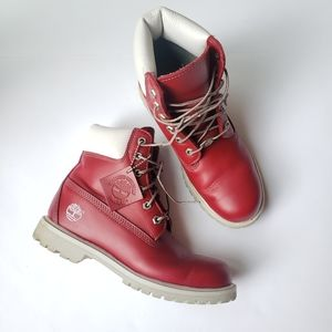 Timberland Burgundy Red White Water Proof Boots
